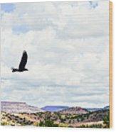 Black Bird In Flight Wood Print