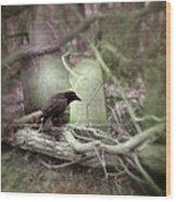 Black Bird In Forgotten Graveyard Wood Print