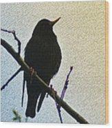 Black Bird Perch Wood Print