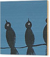 Black Birds On The Line Wood Print