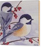 Black-capped Chickadees Wood Print