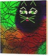 Black Cat Dreams Wood Print by Rosana Ortiz