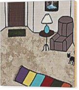 Essence Of Home - Black Cat Entering Living Room Wood Print