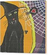 Black Cat In A Hat  Wood Print