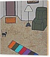 Essence Of Home - Black Cat In Living Room Wood Print