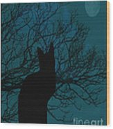 Black Cat In The Moonlight Blue Wood Print