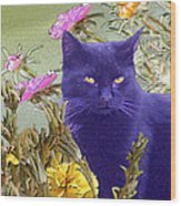 Black Cat Lurking In The Portulaca Wood Print
