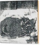 Black Cat Monoprint-2 Wood Print