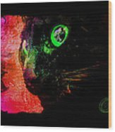 Black Cat Neon Wood Print