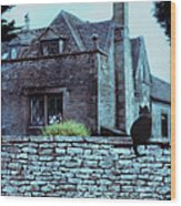 Black Cat On A Stone Wall By House Wood Print