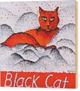 Black Cat Orange Wood Print