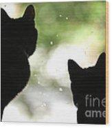 Black Cat Silhouettes Wood Print