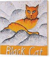 Black Cat Yellow Wood Print