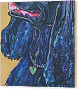 Black Cocker Spaniel Wood Print by Patti Schermerhorn