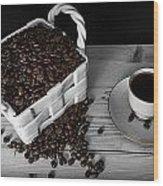 Black Coffee Wood Print