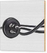 Black Cord Plug Wood Print