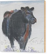 Black Cow Drawing Wood Print by Mike Jory