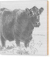 Black Cow Pencil Sketch Wood Print