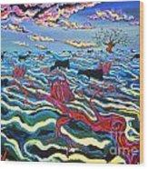 Black Cows In Flood Wood Print