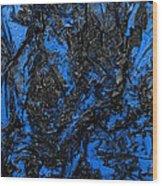 Black Cracks With Blue Wood Print