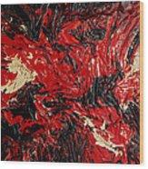 Black Cracks With Red Wood Print