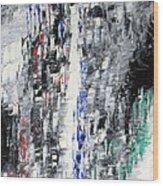 Black Crystal Cave - Black White Abstract By Chakramoon Wood Print