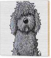 Black Doodle Dog Wood Print