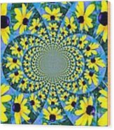 Black Eyed Susan Kaleidoscope Wood Print
