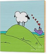 Black Faced Sheep 20150206 Wood Print