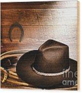 Black Felt Cowboy Hat Wood Print