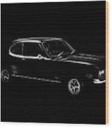 Black Ford Capri Wood Print