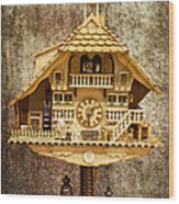 Black Forest Figurine Clock Wood Print