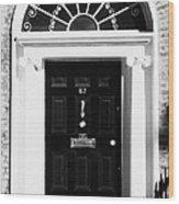 Black Georgian Door With Brass Letterbox Door Knob And Knocker And Fanlight In Dublin Wood Print