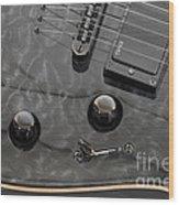 Black Guitar Wood Print