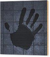 Black Hand Cyan Wood Print