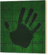 Black Hand Green Wood Print
