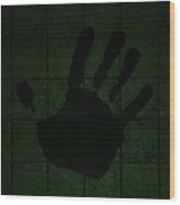 Black Hand Olive Green Wood Print