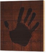 Black Hand Orange Wood Print