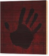 Black Hand Red Wood Print