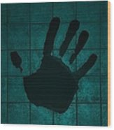 Black Hand Turquoise Wood Print