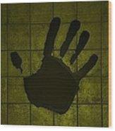 Black Hand Yellow Wood Print