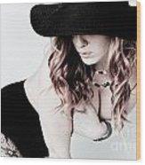 Black Hat Wood Print