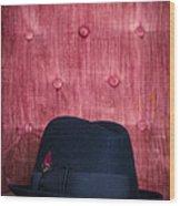 Black Hat On Red Velvet Chair Wood Print