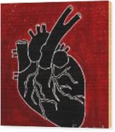 Black Heart Wood Print