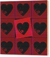 Black Hearts Wood Print