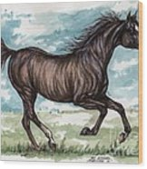 Black Horse Running Wood Print