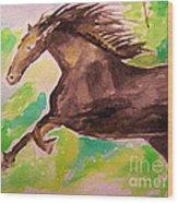 Black Horse Wood Print by Sidney Holmes