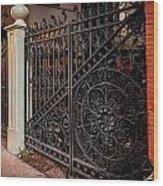 Black Iron And Red Brick Wood Print