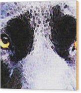 Black Labrador Retriever Dog Art - Lab Eyes Wood Print by Sharon Cummings