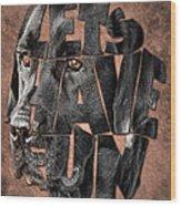Black Labrador Typography Artwork Wood Print